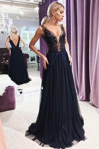 V-Neck Backless Evening Gown with Appliques Dark Navy Prom Dress