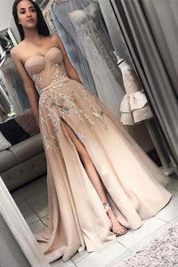Elegant Sweetheart Long Split Prom Dress with Appliques A Line Evening Dress