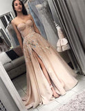 Elegant Sweetheart Long Split Prom Dress with Appliques A Line Evening Dress PFP0708