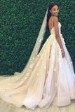 Princess A-Line Spaghetti Straps Backless Tulle Wedding Dress with Appliques PFW0010