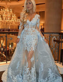 Detachable V-Neck Long Sleeve Prom Dress with Lace Appliques Light Blue Evening Gown PFP0710