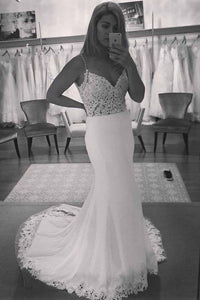 Spaghetti Strap Lace Top Mermaid Backless Beach Wedding Dress PFW0071