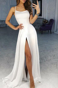 Off White Spaghetti Strap A Line Prom Dress Sexy Long Split Evening Dresses