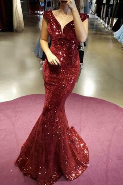 Mermaid Burgundy Sequined Cap Sleeves Long Prom Dresses
