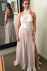A Line Chiffon High Neck Long Prom Dresses With Appliques
