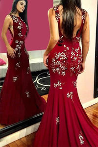 Elegant Burgundy Mermaid Backless Prom Dresses With Appliques