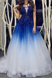 Elegant Royal Blue White Ombre Long Prom Dresses with Appliques for Teens