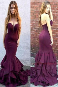 Long Sweetheart Strapless Mermaid Teens Prom Dresses, Evening Dresses for Women
