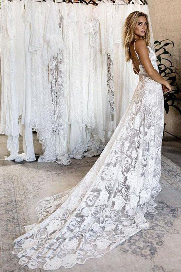 New Arrival Lace Backless V Neck Ivory Spaghetti Straps Beach Wedding Dresses PFW0080