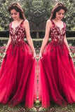 Unique Red V Neck Tulle Appliques Prom Dresses, Long Party Gowns
