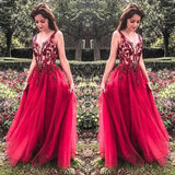 Unique Red V Neck Tulle Appliques Prom Dresses, Long Party Gowns PFP0724