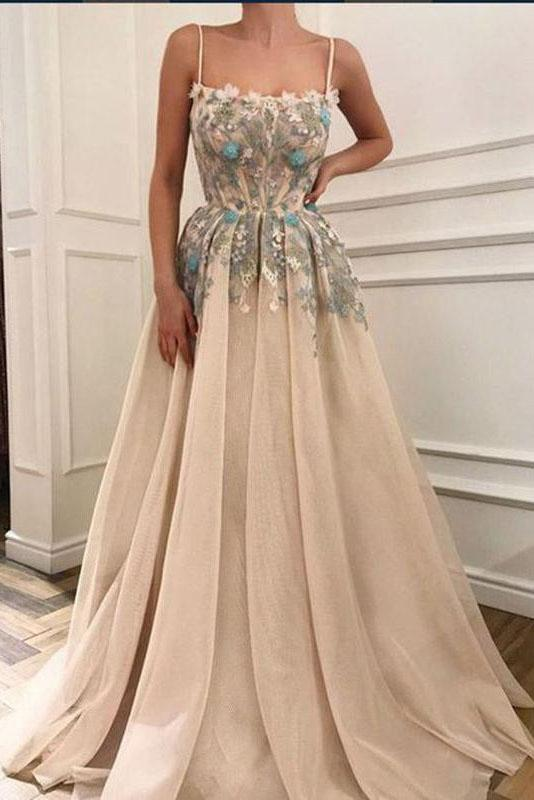 Charming Spaghetti Straps Appliques A-line Formal Long Prom Dresses
