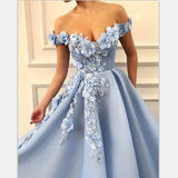 Blue Off Shoulder Flower Appliques A-line Long Modest Beautiful Prom Dresses PFP0726