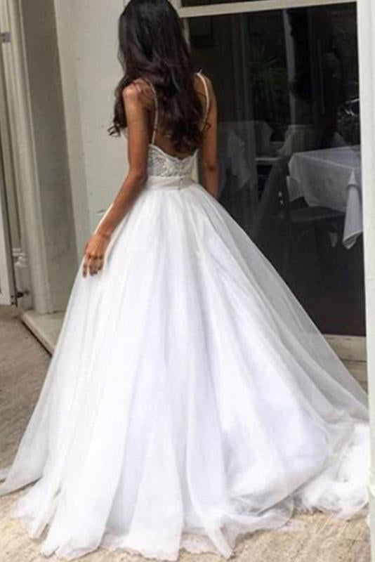 A Line Round Neckline Chiffon Lace Long Wedding Dresses Wedding