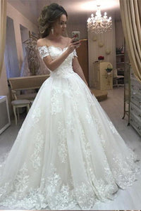 Princess Vintage Lace Appliques Off the Shoulder Tulle Wedding Dresses PFW0086