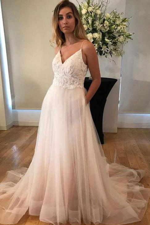 V-Neck Long Spaghetti Straps Prom Dresses,Simple Tulle A-Line Wedding Dresses PFW0088