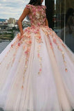 Jewel Tulle Long Cap Sleeves Ball Gown Prom Dress with Flower Appliques