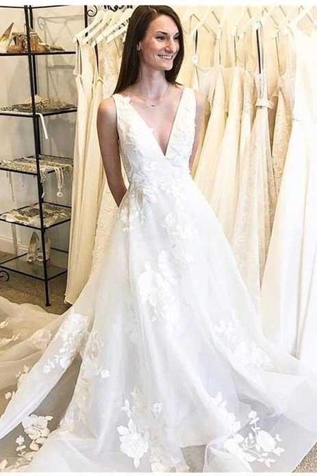 Cheap A-Line Deep V-Neck Backless Long Wedding Dress with Appliques PFW0089