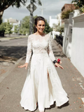 Elegant A-line Bateau Long Sleeve Lace Appliques Off White Wedding Dresses PFW0087