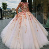 Jewel Tulle Long Cap Sleeves Ball Gown Prom Dress with Flower Appliques PFP0729