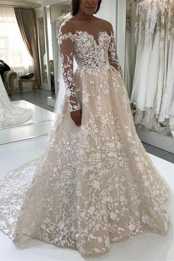 Elegant A-Line Illusion Beteau Long Sleeves Ivory Lace Wedding Dress PFW0090