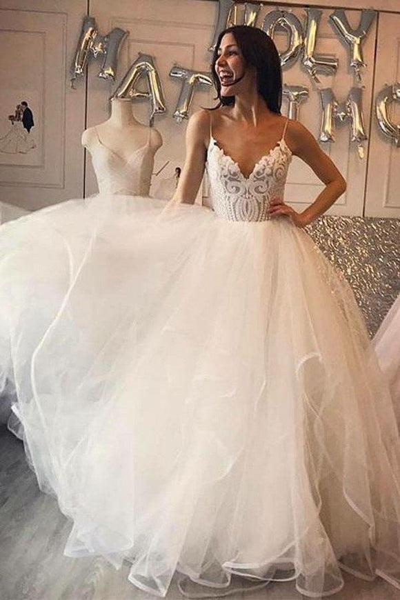 Ivory A-Line Spaghetti Straps Tulle Cheap Wedding Dress with Lace PFW0012