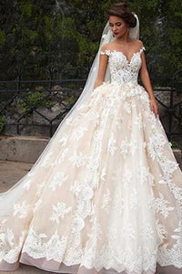 Romantic Jewel Cap Sleeves Ball Gown Wedding Dress with Lace Top PFW0092