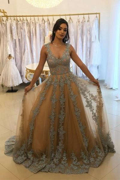 A-Line V-Neck Tulle Long Prom Dress with Lace Appliques