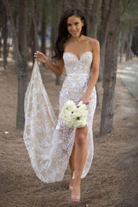 Sexy Sweetheart Asymmetry Lace Long Casual Wedding Dress with Slit PFW0093