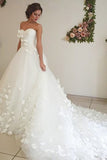 Adorable Sweetheart Tulle A Line Court Train Off White Wedding Dress with Flower PFW0094