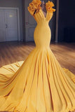 Charming Mermaid V-Neck Sleeveless Yellow Long Prom Dress with Ruffles
