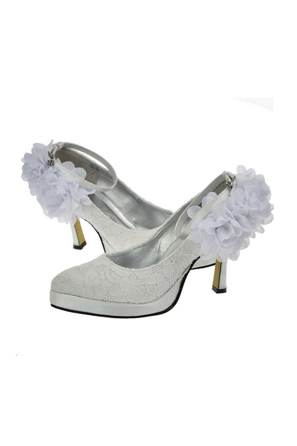 Charming Ivory Lace Ankle Strap Shoes With White Flowers PFWS0019