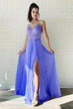 A Line Chiffon Long Split Prom Dress, Cheap Lace Up Back Evening Dresses