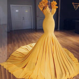 Charming Mermaid V-Neck Sleeveless Yellow Long Prom Dress with Ruffles PFP0736