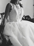 Elegant Off White Lace Appliques A-line Chapel Train Wedding Dresses with Sash PFW0096