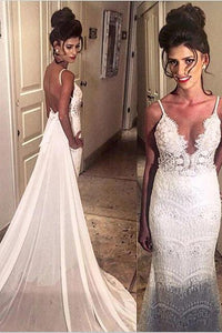 Elegant Spaghetti Straps Mermaid Long Lace Backless Wedding Dresses with Court Train PFW0099