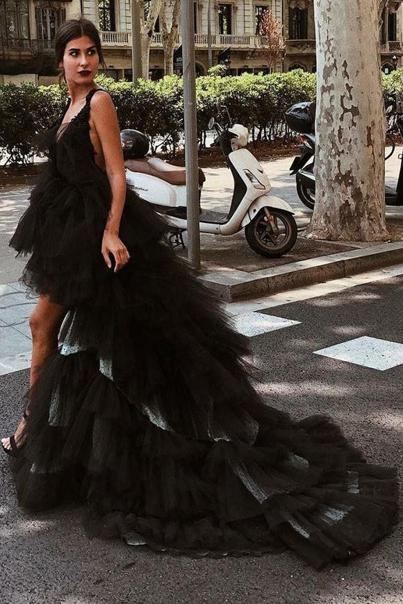 Beautiful A-Line V-Neck High Low Backless Black Tulle Prom Dresses