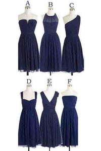 Simple Cheap Short Navy Blue Chiffon Sleeveless Bridesmaid Dress PFB0053