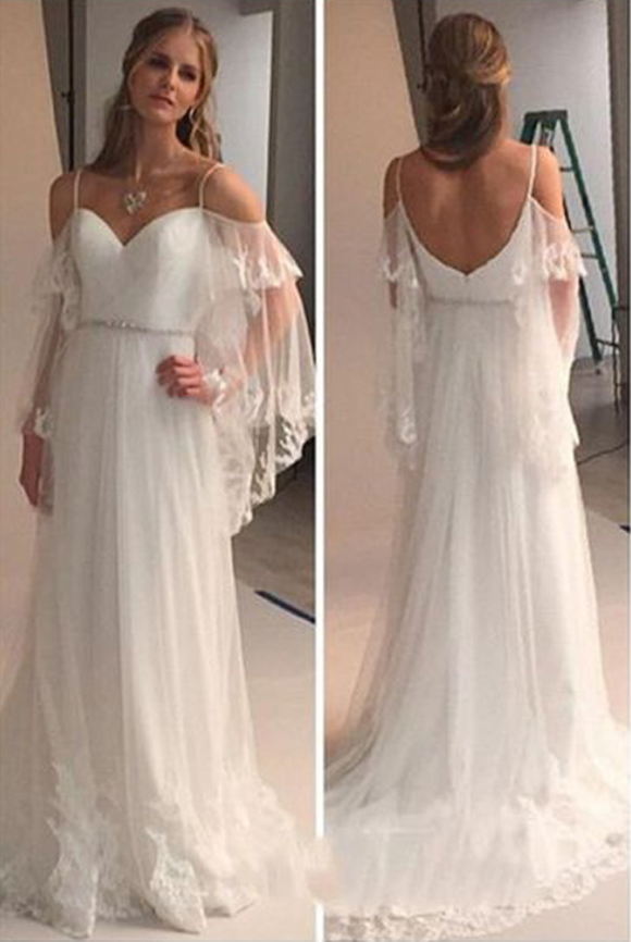 Elegant Cold Shoulders Hippie A Line Tulle Long Sweep Train Wedding Dress PFW0100