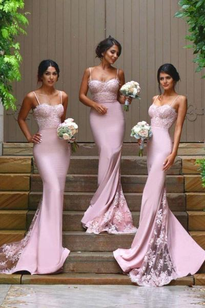 New Arrival Pink 2019 Spaghetti Straps Lace High Quality Mermaid Long Bridesmaid Dresses PFB0054