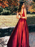 Two Pieces Scoop Sleeveless Burgundy Split Sexy Long Prom Dresses PFP0740