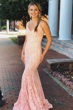 Mermaid V-neck Sleeveless Pink Lace Backless Prom Dresses With Straps