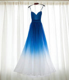 Royal Blue White Ombre Long Bridesmaid Dress,A-line Sweetheart Chiffon Prom Dresses PFB0055