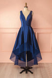 Dark Blue A Line Satin Lace V Neck High-low Bridesmaid Dress,Simple Prom Dresses PFB0056