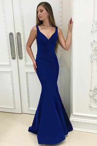 Charming Mermaid V-neck Royal Blue Ruched Long Prom Dresses