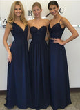 Navy blue Chiffon Simple Lace Long A Line Sleeveless Bridesmaid Dresses PFB0057