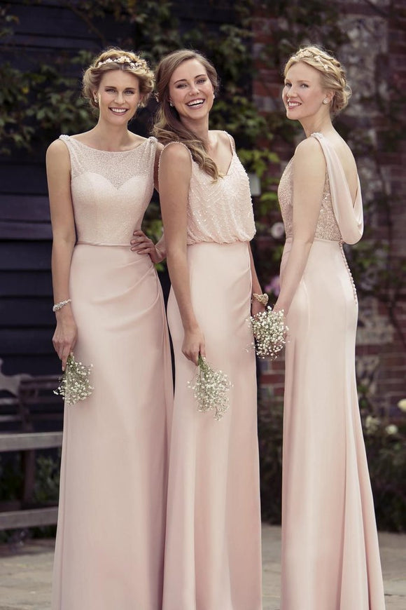 Sexy Chiffon A-Line 2019 Cheap Pink Bridesmaid Dresses,Long Prom Dress PFB0058