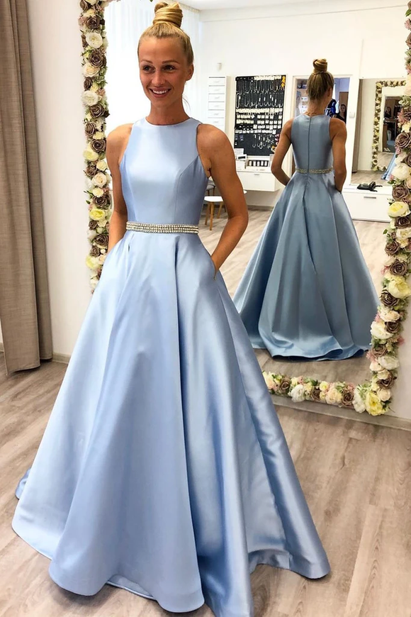 Promfast Sky Blue A Line Beading Long Prom Dress With Pockets Fashion School Dance Dress PFP1820