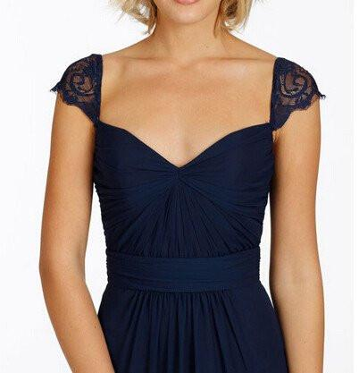bfabd488f4 ... Navy Blue Long Open Back Cap Sleeve Sexy Chiffon Bridesmaid Dresses  PFB0059 ...