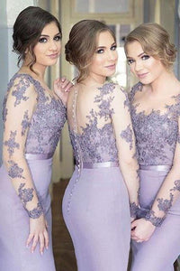 Long Sleeves Mermaid Lilac Sexy Long Bridesmaid Dress,Pretty Plus Size Bridesmaid Dress PFB0060